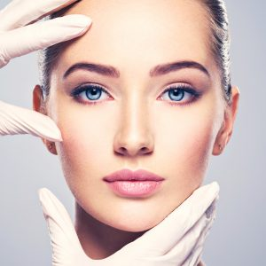Face,Skin,Check,Before,Plastic,Surgery.,Beautician,Touching,Woman,Face.
